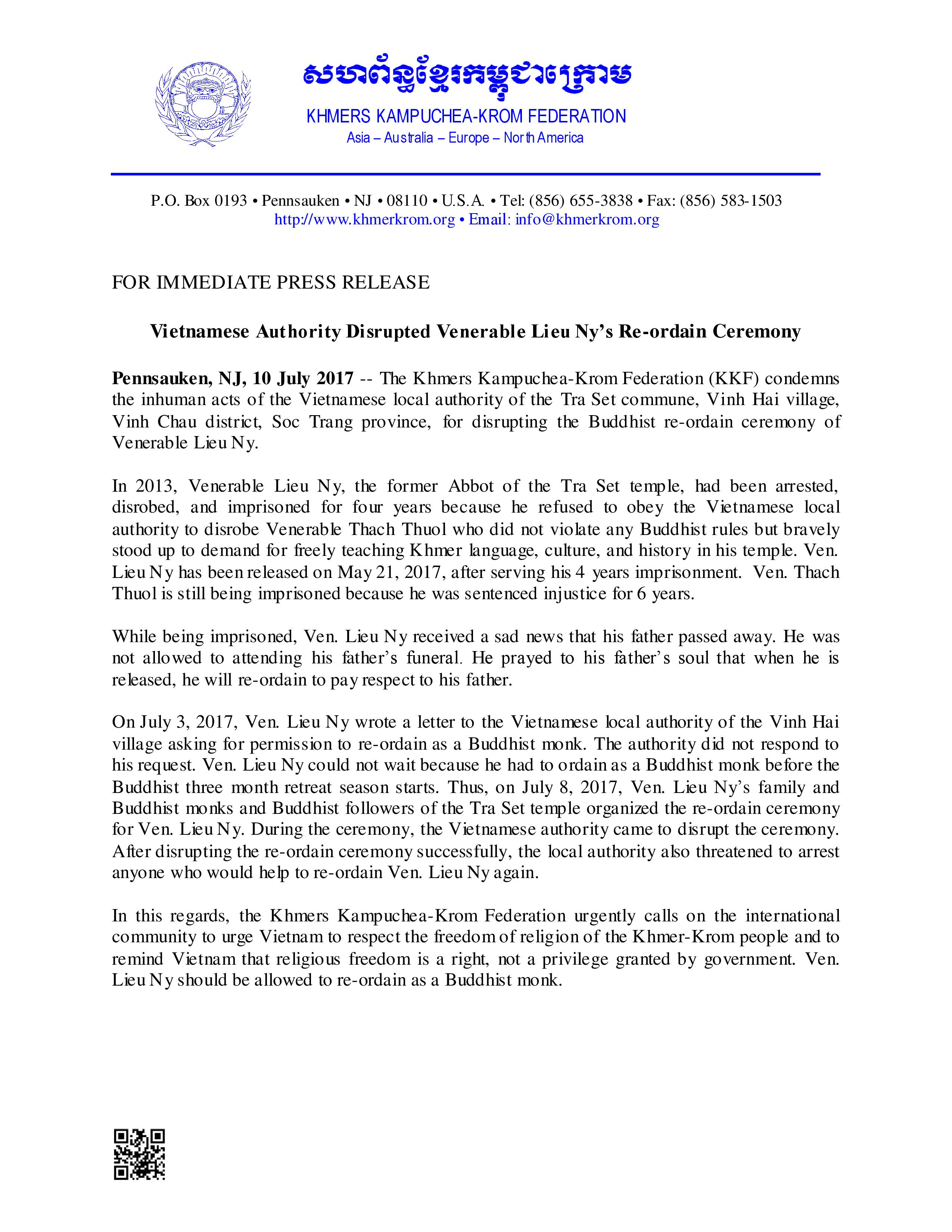 KKF Press Release Ven Lieu Ny Reordain Denied by Government